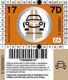 Виньетка Словении на 7 дней для автомобилей
